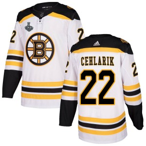 Authentic Adidas Youth Peter Cehlarik White Away 2019 Stanley Cup Final Bound Jersey - NHL Boston Bruins