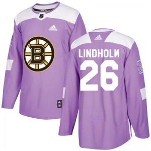Authentic Adidas Youth Par Lindholm Purple Fights Cancer Practice Jersey - NHL Boston Bruins