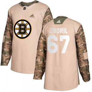 Authentic Adidas Youth Jakub Zboril Camo Veterans Day Practice Jersey - NHL Boston Bruins